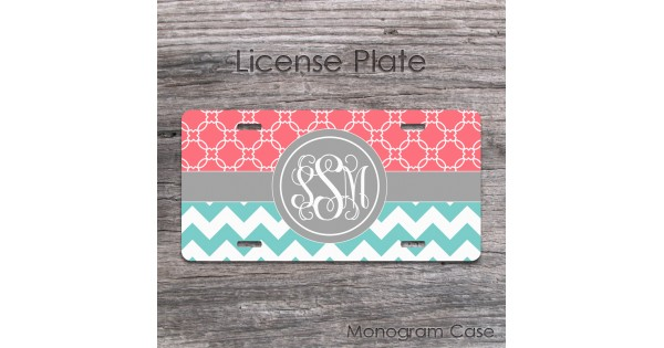 teal and coral chevron monogrammed license plate
