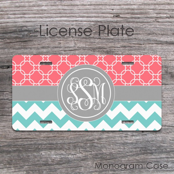 Light teal chevron coral quatrefoil pattern monogrammed car tag