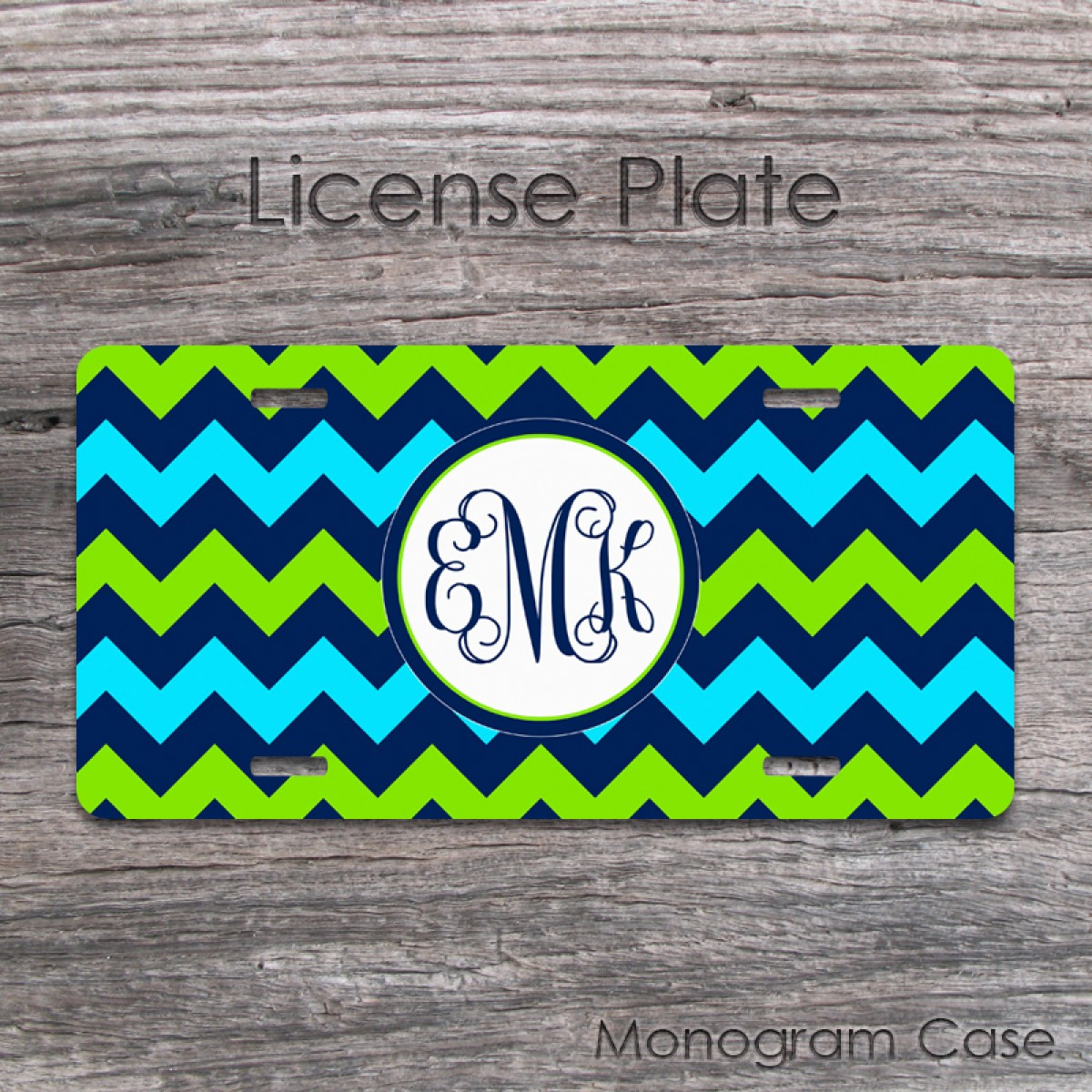 Lime Green And Navy Chevron Monogram License Plate