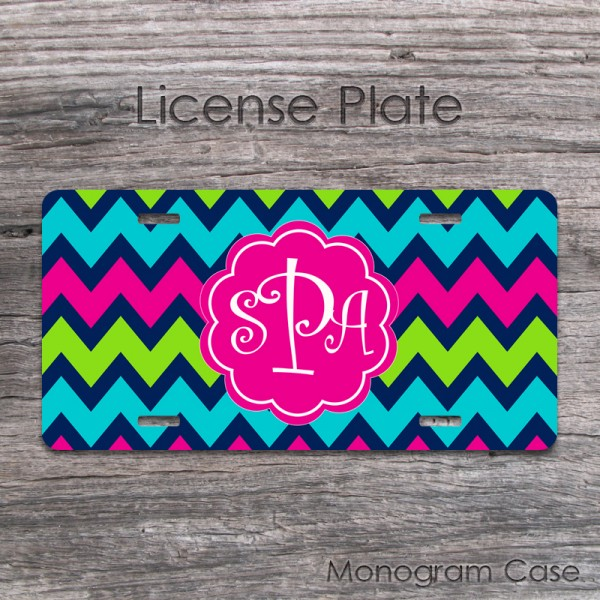 mixed colored pattern zigzag car tag