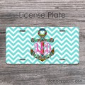 Marine license plate aztec anchor design hot pink monogram