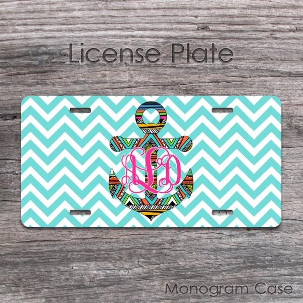 Marine license plate aztec anchor design hot pink monogram