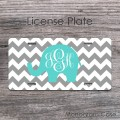 Mint elephant monogrammed grey zig-zag pattern car tag