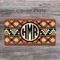 Monogram aztec tribal car tag native american style