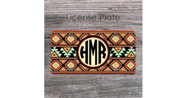 Monogram Aztec Tribal Car Tag Native American Style