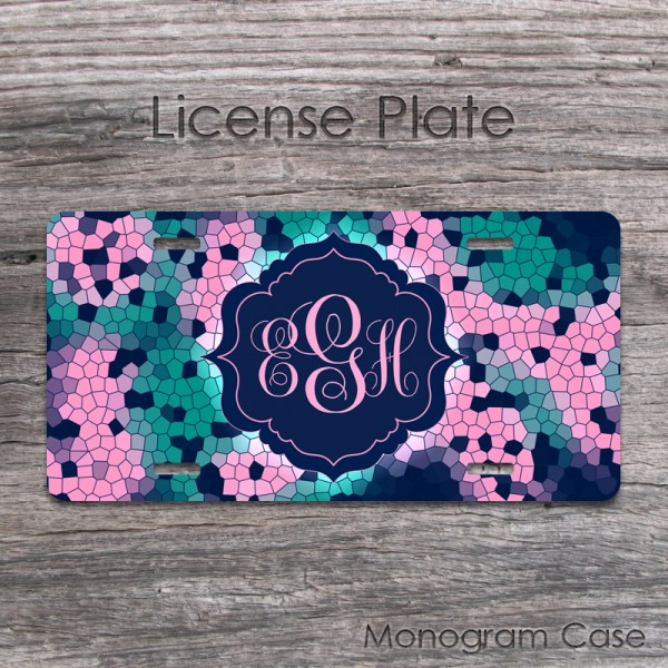 Mosaic pink teal design personalized car tag