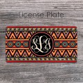 Multi-colored aztec front license plate indian pattern