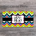 Multicolorful bold chic chevron front car tag