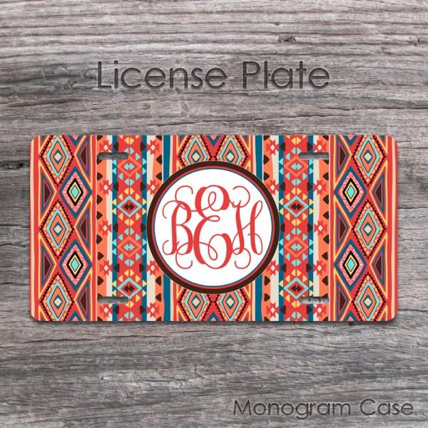 Navajo aztec car monogram initials custom auto tag