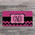 Pink monogrammed label magenta back custom car tag