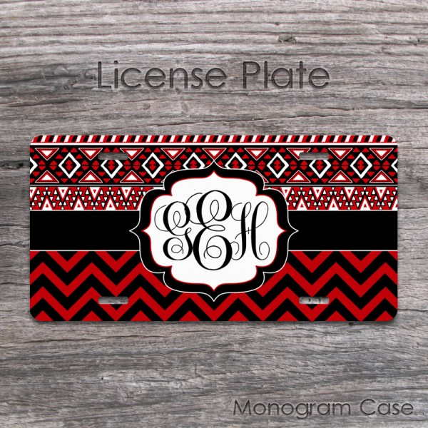 Red black aztec tribal monogrammed car tag accessory