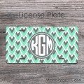Retro geometric abstract mint gray front license plate