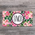Girly pink roses monogrammed license plate