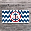 Sea inspired front license plate navy anchor red monogram