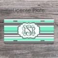 Stripes grey mint personalized monogrammed license tag