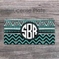 Teal black tribal personalized car tag retro design