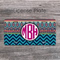 Tribal hot pink monogrammed gift front license plate