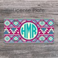 Tribal monogram license plate navajo pattern gift