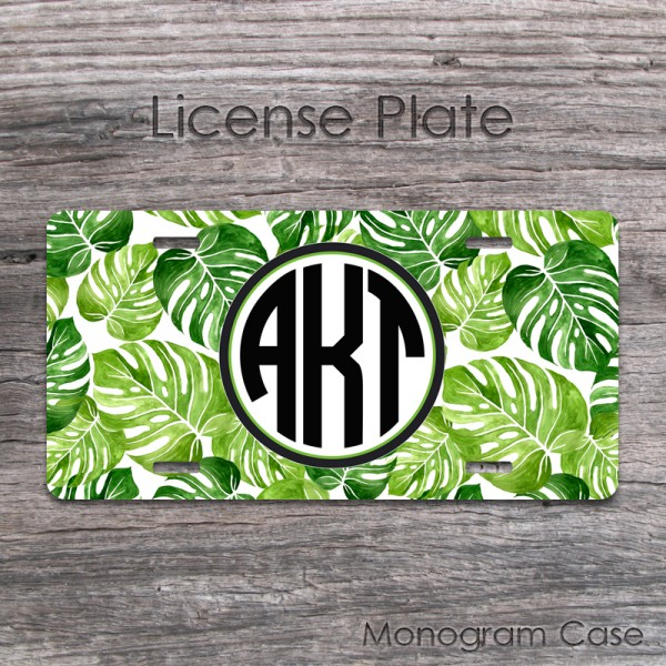 Tropical leaves personalized license plate