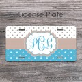 White baby blue tan polka dots monogrammed license plate