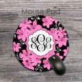 Hawaiian pink flowers design monogrammed mousepad
