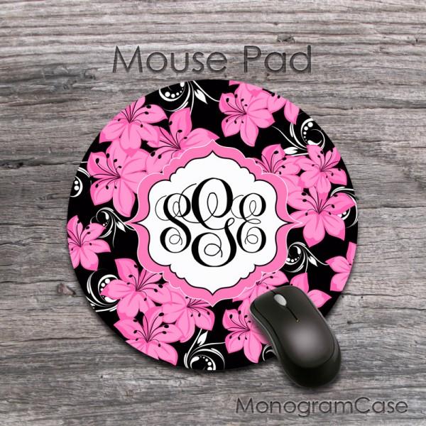 Hawaiian pink flowers design monogrammed mousepad
