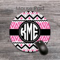 Aztec pink black design pattern monogrammed mousepad