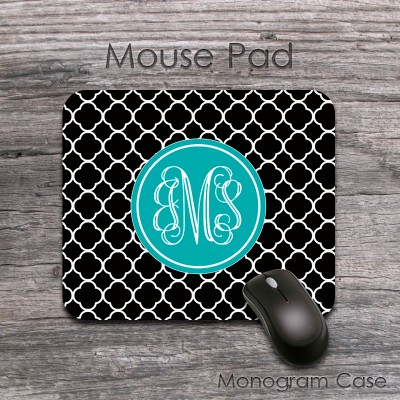Black and teal pattern monogrammed mouse pad