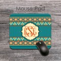 Bohemian pattern mouse pad monogrammed