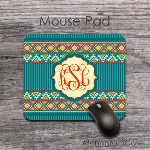 Bohemian pattern mouse pad monogrammed