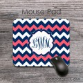 coral and navy blue chevron monogrammed mousepad