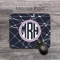 Charcoal white mesh lilac label personalized mouse pad