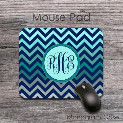 Colorful ombre chevron desk mouse pad