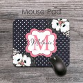 Custom name floral mouse pad and poka dots