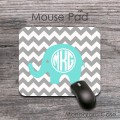 Cute elephant grey chevron monogrammed mouse pad
