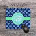 Dark blue quatrefoil pattern mint aquamarine monogram mousepad