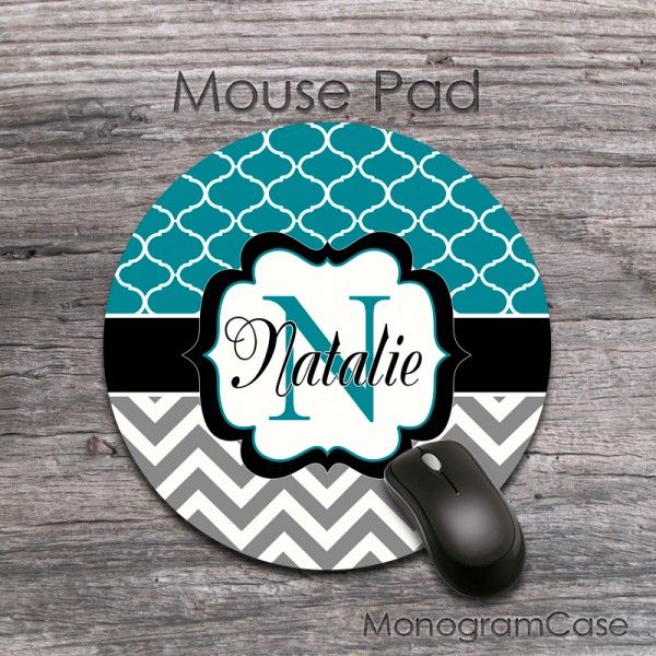Dark teal grey chevron black label monogrammed round mouse pad