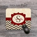 Elegant tan brown retro design maroon label mousepad