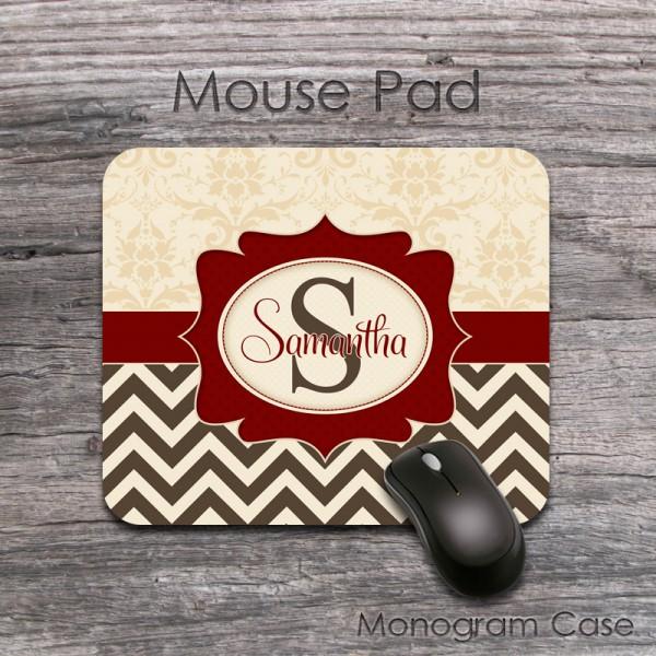 Elegant tan brown retro design maroon label mousepad