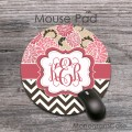 Floral pattern brown chevron monogrammed round mouse pad