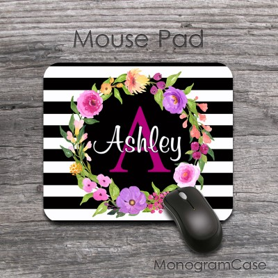 Flowers wreath wedding mouse pad  custom mouse mat