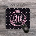 Follow arrow monogrammed black soft pink mouse pad