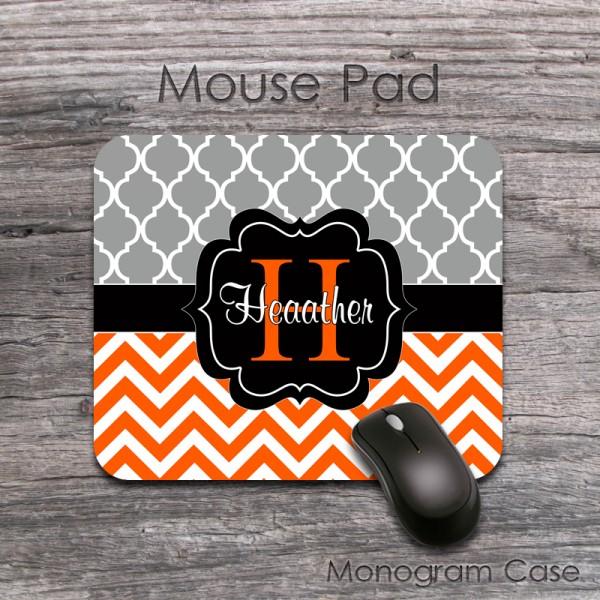 Gray moroccan pattern orange zig zag black label custom mouse pad