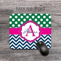 Green polka dots dark blue chevron hot pink label custom mat