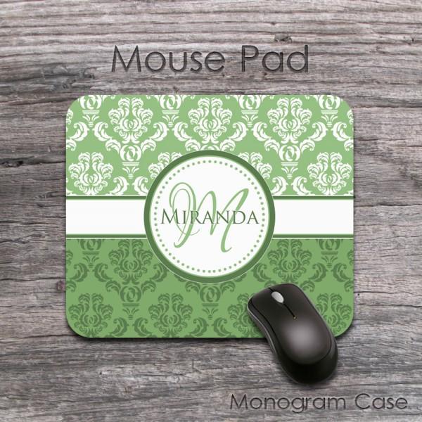 Green tea damask vintage design customized mouse pad