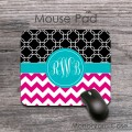 Hot pink chevron teal black pattern mousepad
