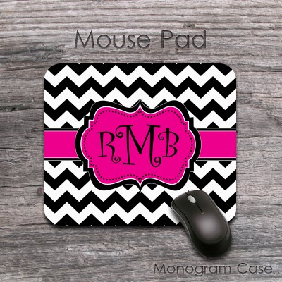 Hot pink lribbon and black white chevron curlz monogram mat