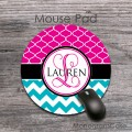 Hot pink moroccan pattern turquoise chevron personalized gift mat