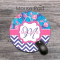 Lavender zig-zag tulips flowers personalized round mat
