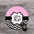 Light pink polka dots classic chevron monogrammed round pad